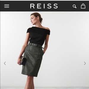 Reiss NWT dark green leather skirt size 12